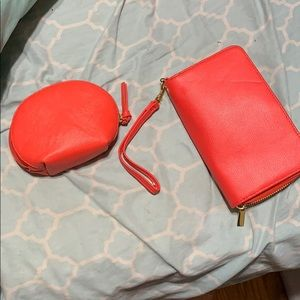 Dark coral wallet and change purse